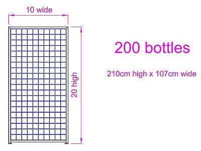 Steel Metal Wine Storage Rack Powder Coated Black over Galvanising 200 Bottles