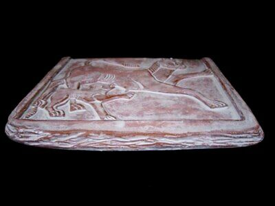 Ancient Terracotta Votive Plate Depicting Two Lions, Replica!!! 2