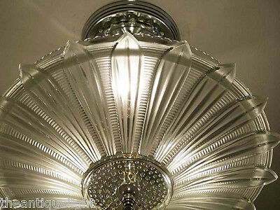 334 Vintage 30's 40's Ceiling Light Lamp Fixture  Chandelier Re-Wired SUNFLOWER 7