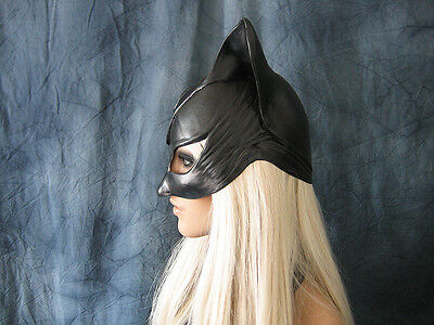 CATWOMAN HOOD MASK - Female Latex Ear Maske Batman Katze Halloween Haube Kitty 3