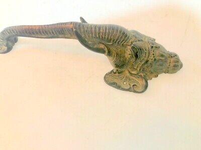 """Ganesha Elephant DOOR PULL HANDLE 13"""" antique green brass trunk door 32cm B 8"""