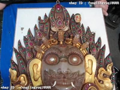 Tibet Buddha Copper Bronze Gild inlay beryl crystal Mahakala Buddha Mask statue 3