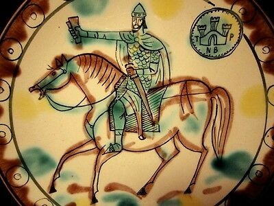 Byzantine Style Tricolour Glazed Sgraffito Terracotta Plate, Horseman!!!