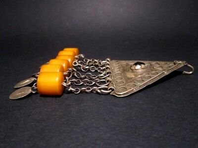 RARE ANTIQUE 1800's. BILLON JEWELRY WITH YELLOW AMBER PENDANTS from the BALKANS! 5