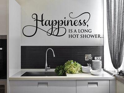 Happiness Is A Long Hot Shower Wall Art Sticker Modern Transfer Pvc 10 95 Picclick Uk