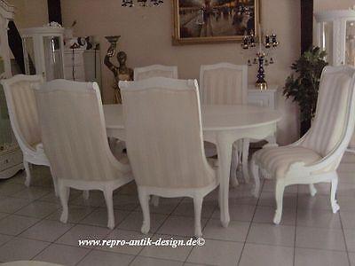 2 Von 5 Esszimmer Garnitur Gruppe Klassisch Stuhl Sessel Tisch Weiß Barock  Massiv Speise