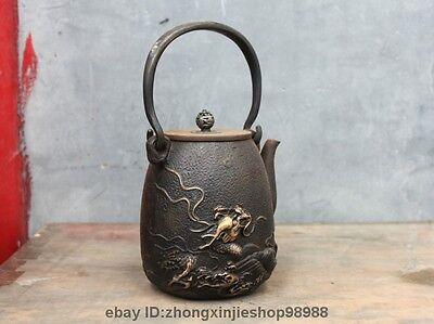 "10"" Archaic Japanese Iron Silver Gilt Sea Dragon King Flagon Kettle Wine Tea Pot"
