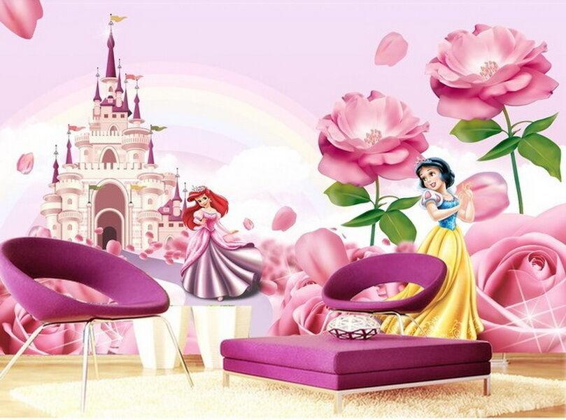 2 Of 6 3D Disney Princess Castle Wallpaper Ariel Snow White Wall Paper