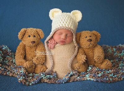 e60f2bb39d4 ... Hand Crochet Knitted Baby Hat Teddy Bear Chunky Photo Prop Boy Girl  Newborn-12M 3