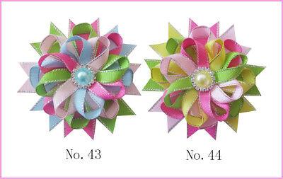 "20 BLESSING Good Silver Grosgrain Ribbon 3.5"" New Bird's Nest Hair Bow Clip"
