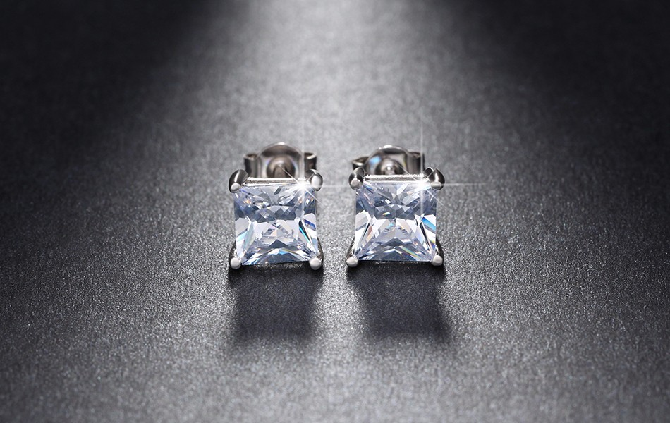 2b9298469 Men's Boy's Ronaldo 8mm Square 18ct White Gold Plated Diamond Crystal  Earrings 4 4 of 4 See More