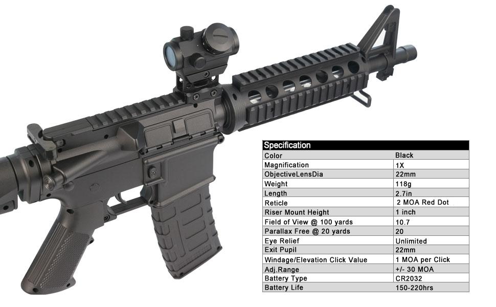 RDS-25 Red Dot Sight 2 MOA Reflex Gun Sight Rifle Scope With 1 inch Riser Mount