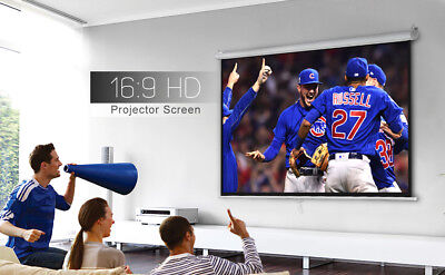 100 Inch 16:9 Manual Pull Down Projector Projection Screen Home Theater Movie 3