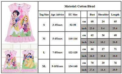 Kids Girls Princess Cartoon Nightie Nightdress Pyjama Sleepwear Nightwear Summer 5