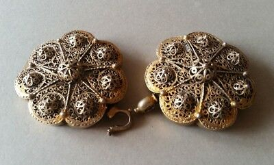 SUPERB ANTIQUE OTTOMAN GOLD PLATED hand-knitted SILVER filigree belt buckle XIXc 8