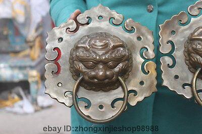 China Folk Classic Copper Bronze Guardian Lion Head  Door Knocker Statue Pair 2