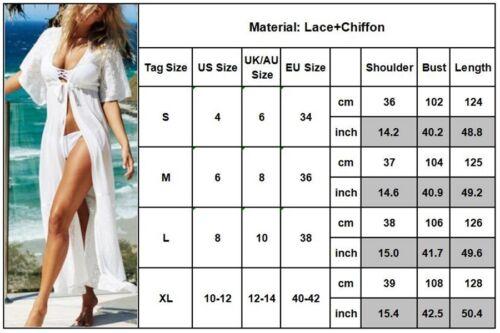 Damen Bikini Cover Up Spitze Strand Cardigan Jacke Kimono Maxi Sommer Bluse Tops