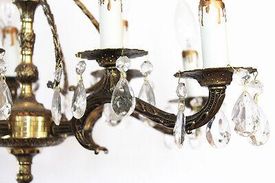 Antique 10 Light Brass & Crystal Chandelier Gorgeous 3