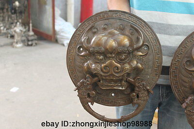 China Bronze Foo Dog Lion Head Dragon Temple Avoid EvilDoor handle Knocker pair 4