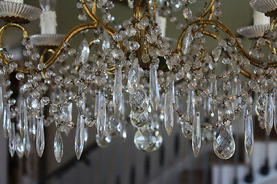 Antique Italian Beaded Crystal Chandelier Stunning Prisms Rare 2