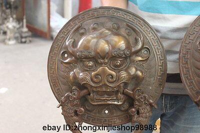 China Bronze Foo Dog Lion Head Dragon Temple Avoid EvilDoor handle Knocker pair 8