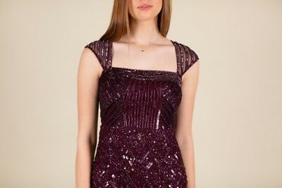 cambiar Cambiable Madurar  DARK PURPLE BEADED ADRIANNA PAPELL Long Prom Dress SIZE 4 Pretty Little  Liars - $150.00 | PicClick
