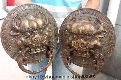 China Bronze Foo Dog Lion Head Dragon Temple Avoid EvilDoor handle Knocker pair 9