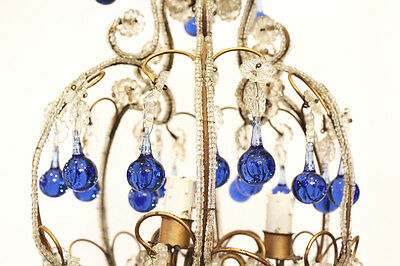 Rare Incredible Antique Italian Beaded Chandelier Blue Drops Gorgeous 4