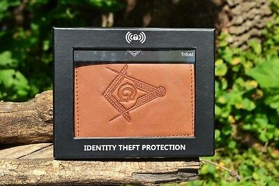 ccfc044aed7d MASONIC TAN LEATHER Tri-Fold Wallet - RFID Protected - Square and Compasses