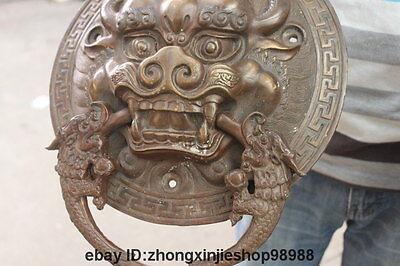 China Bronze Foo Dog Lion Head Dragon Temple Avoid EvilDoor handle Knocker pair 6