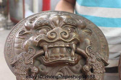 China Bronze Foo Dog Lion Head Dragon Temple Avoid EvilDoor handle Knocker pair 7