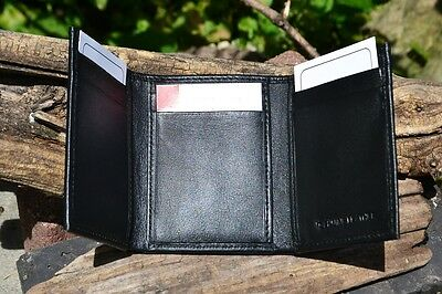 9b63dcde50d5 MASONIC BLACK LEATHER Tri-Fold Wallet - RFID Protected - Square and  Compasses