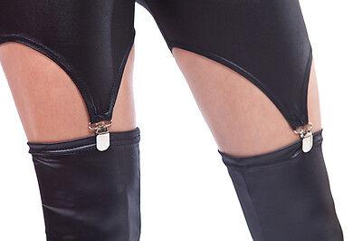 Strapsleggings in Leder Look /  Suspender Leggings 4
