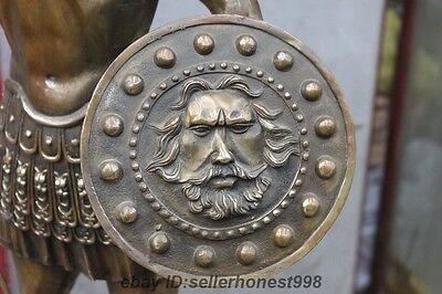 Huge Ancient Greek Warrior hold Javelin God of war shield Bronze Art Sculpture