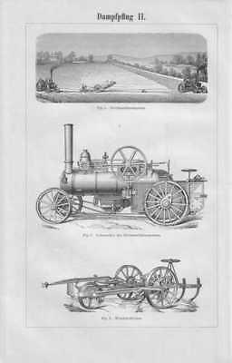 DAMPFPFLUG Pflug Lokomobile 2x ORIG. Holzstich 1897 Kultivator Landwirtschaft