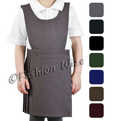 Pleated Bib Pinafore Dress Ages 2-18 Girls School Uniform Bib Black Grey Navy 3