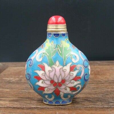 Collectible 100% Handmade Painting Copper Cloisonne Enamel Snuff Bottles 2