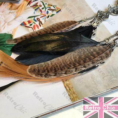 18cm long FEATHER EARRINGS black//natural//brown FEATHERS silver tone F21 bird