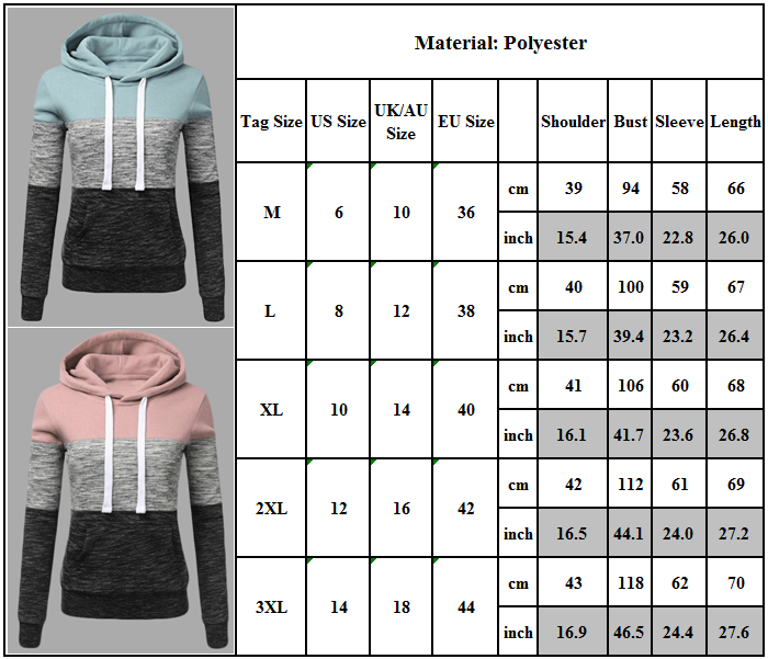 Women's Casual Hoodies Sweatshirt Ladies Hooded Long Sleeve Tops Jumper Pullover 3