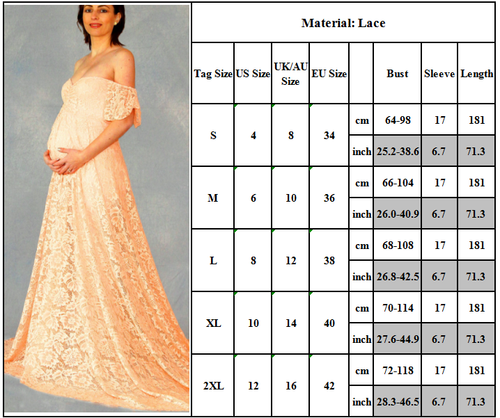 Maternity Women Lace Photography Long Pregnant Boho Maxi Gown Party Dress Props 10