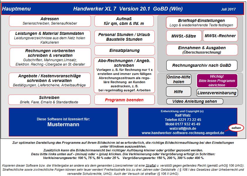 Handwerker Software Xl 7 Alle Gewerke Rechnung Angebot Aufmaß Etc