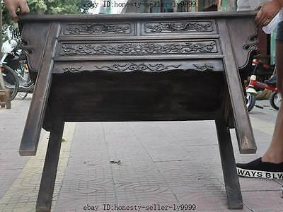 "44"" old chinese Antique Furniture Hand-carved huanghuali wood flower Tables Desk 12"