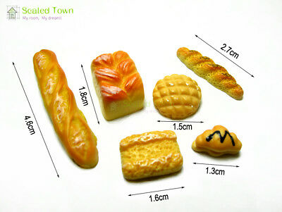 6pc Dolls House Miniature Kitchen Food Bread Toast Bakery Pastry Shop Decor 1:12 5