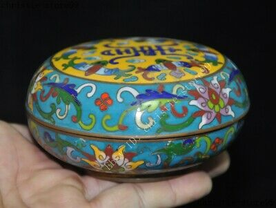 Chinese palace dynasty bronze Cloisonne wealth animal bat flower rouge box boxes 3