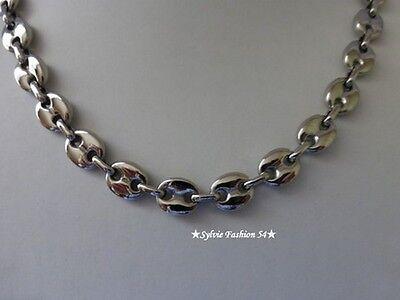 Collier chaîne bijou homme femme maillon grain de café Acier inoxydable 1 cm 2