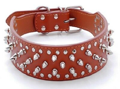 Spiked Studded Rivet PU Leather Dog Collar Pit Bull BLACK L XL FOR LARGE BREEDS