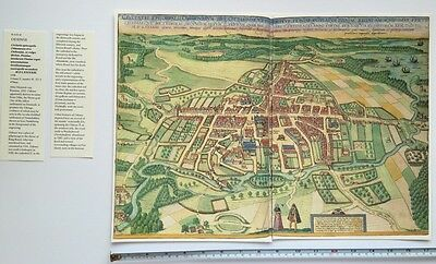 Old Antique Historic Map Odense, Denmark: 1598 Braun & Hogenberg REPRINT 1500's 2