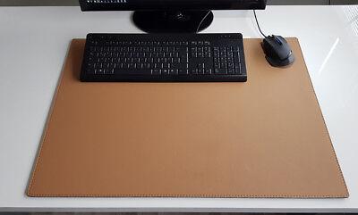 Schreibtischunterlage Soft Lux Leder 70 x 50 Rot mit Rote Naht
