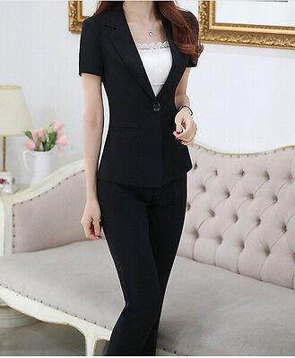 70f05b4ee1d7 ... Elegante Tailleur completo donna nero giacca manica corta pantaloni  7138 2