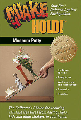 QUAKE HOLD Museum Putty 2.64oz FREE SHIP Earthquake Survival Kit Wax QuakeHold